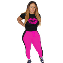 Casual Sports Print Lips Pant Set