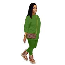 Autumn Solid Color Cotton Pant Set