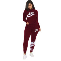 Casual Hooded Print Letter Sport Pant Set