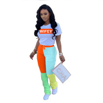 Casual Pleated Short Sleeve Alphabet Two Piece Set