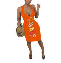 Casual Print V Neck Vest Midi Dress