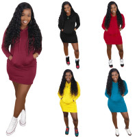 Solid Color Hooded Sweatshirt Dress