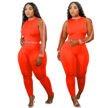 Solid Color Sleeveless Webbing Jumpsuit