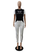 Gold Diamond Velvet Embroidered Logo O Neck Top and Pants