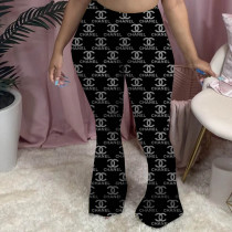 Printed Pleated Slit Micro Flared Sweatpants