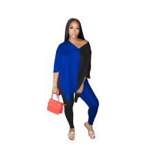 Casual V Neck Color Matching Slit Two Piece Outfits