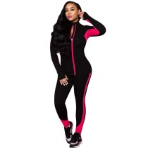 Casual Color Block Stitching Sports Two Piece Outfits