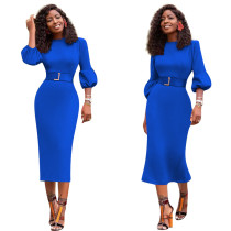 Solid Color Lantern Sleeve Mid Dress Without Belt