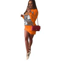 Casual Print Letter Sweatshirt Mini Dress