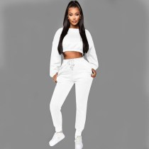 Casual Velvet Sweatshirt Two Piece Pant Set