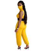 Solid Color Sleeveless Back Zipper Jumpsuit without Belt