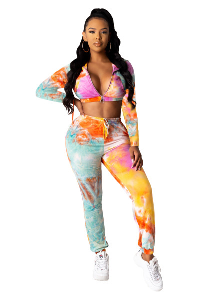 Casual Print Zipper Crop Top and Trousers