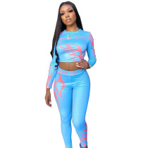 Casual Print Letter Crop Top and Pants