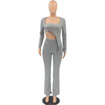 Casual Irregular Tops and Micro-flared Pants