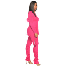 Solid Color Split Blouse and Pleated Stacked Trousers without Mask