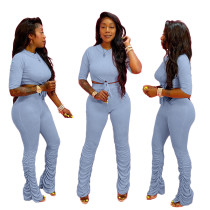 Solid Color Stacked Pant Set