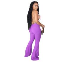 Solid Color Denim Flared Pants