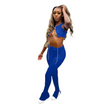 Solid Color Metal Chain Bandage Crop Top and Micro Pant