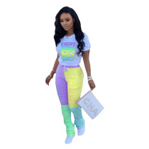 Casual Printed Letters Contrast Color Stacked Two Piece Set