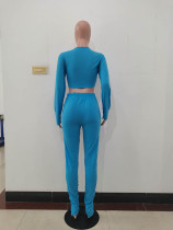 Solid Color Bandage Crop Top and Trousers