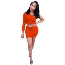 Solid Color One Shoulder Skirt Set