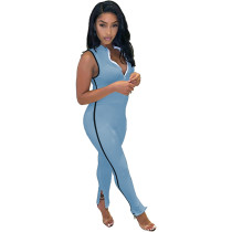 Solid Color Cuff Slits Zipper Sleeveless Jumpsuit