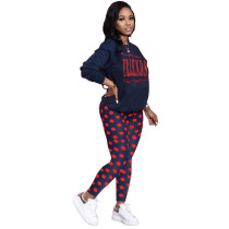 Casual Print Letter Tie Dot Shirt and Trousers 2 Pcs Set