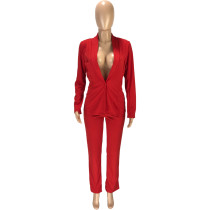 Solid Color OL Jacket Trousers Two Piece Set