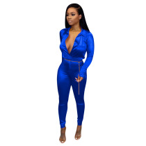 Solid Color Flexible High Neck Romper and Trousers