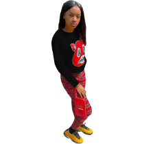 Casual Cartoon Offset Print Blouse and Plaid Zipper Trousers Two Piece Set