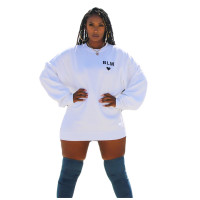 Solid Color Puff Sleeve Printed Sweatshirt Dress