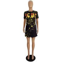 Casual Printed Short Sleeve T-shirt Dress
