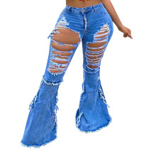 Casual Holes Ripped Denim Flared Pants