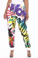 Casual Non-positioning Printed Sweatpants with Belt