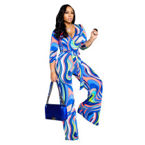 Casual Print Jumpsuit with Belt