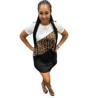 Casual Leopard Stitching Mini Dress