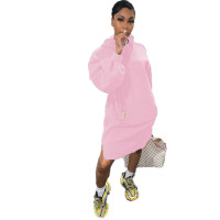 Solid Color Air Layer Hoodie Midi Dress