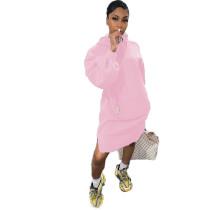 Solid Color Air Layer Hoodie Midi Dress