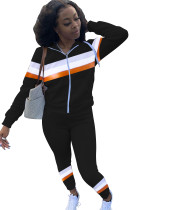 Casual Stitching Zipper Hoodie Pant Set