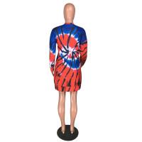 Casaul Velvet Tie Dye Printed Sweatshirt Dress