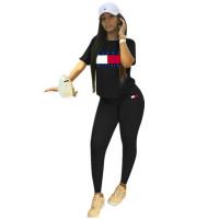 Solid Color Offset Print Letter Short Sleeve Sports Pant Set
