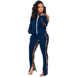 Casual Leopard Print Stitching Sports Two Piece Outfits