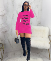 Casual Offset Printed Letters Hooded Mini Dress