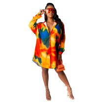 Casual Contrast Color Pattern Printed Cardigan and Shorts