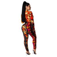 Deep V Neck Leopard Print Pleated Jumpsuit