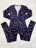Casual Long Sleeve Pattern Print Loungewear Jumpsuit