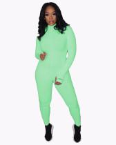 Soft Rib Stretch Long Sleeve Jumpsuit