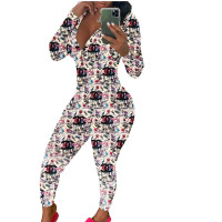Casual Long Sleeve Pattern Print Loungewear Jumpsuit