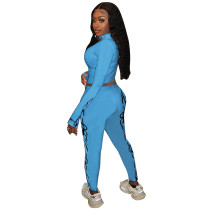 High Collar Printed Sports Two Piece Sportswear Outfits