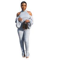 Solid Color Backless Cold Shoulder Piles Sleeves Jumpsuit